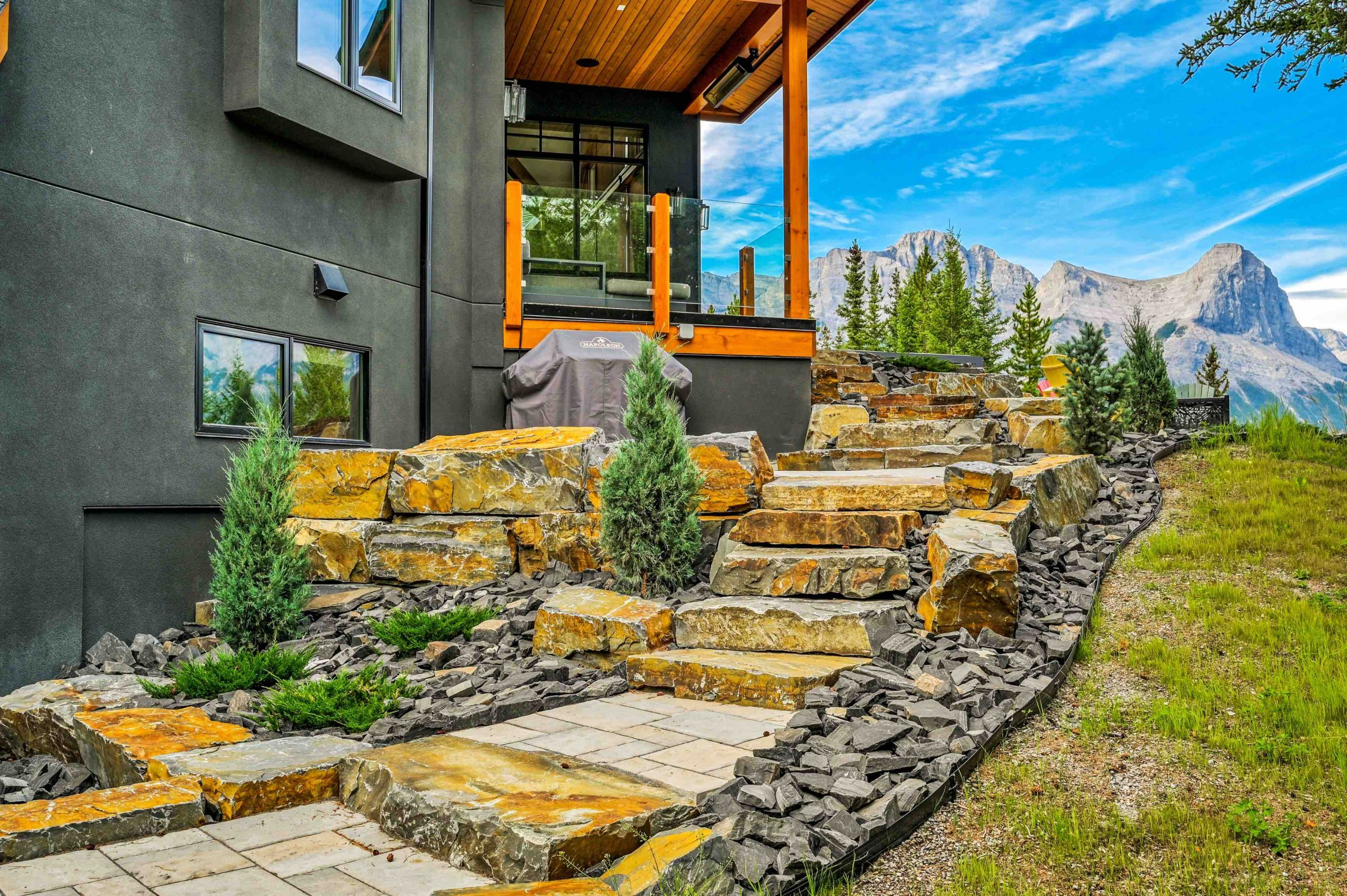 Canmore luxury landscape patio stone steps